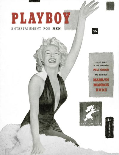 This image released by Playboy shows Marilyn Monroe on the cover of the December 1953 issue. (Associated Press)