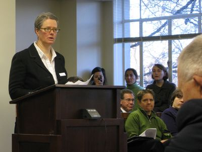 Idaho Sen. Nicole LeFavour, D-Boise, asks a Senate committee to introduce her bill to expand the Idaho Human Rights Acts anti-discrimination protections to include sexual orientation.  (BETSY Z. RUSSELL / The Spokesman-Review)