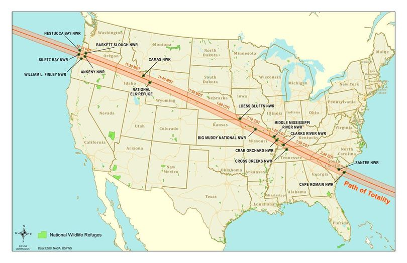The path of totality for the 2017 solar eclipse crosses 19 federal Wildlife Refuges managed by the U.S. Fish and Wildlife Service. (U.S. Fish and Wildlife Service)