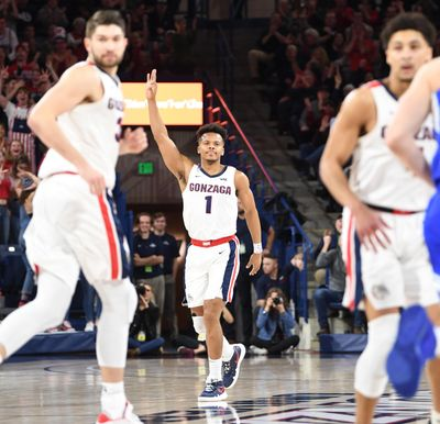 Gonzaga guard Admon Gilder signals his successful  3-pointer against Brigham Young on Saturday, Jan. 18, 2019, at McCarthey Athletic Center. Gonzaga won 92-69. (Jesse Tinsley / The Spokesman-Review)
