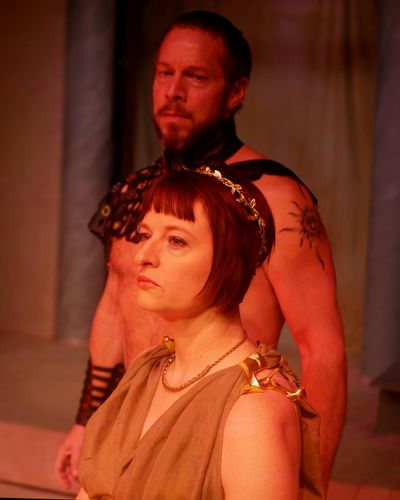 "Caryn Hoaglund as Hecuba with Michael Schmidt as Agamemnon in a scene from ""Hecuba."" (Jennie Oliver)"