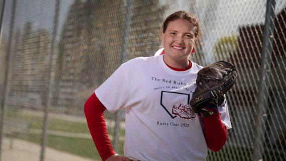 Ferris senior pitcher Katelyn Strauss struck out 21 batters in a 5-4 win over Lewis and Clark on Tuesday, April 20, 2021. Strauss did not allow a hit or an earned run.  (COLIN MULVANY/THE SPOKESMAN-REVIEW)