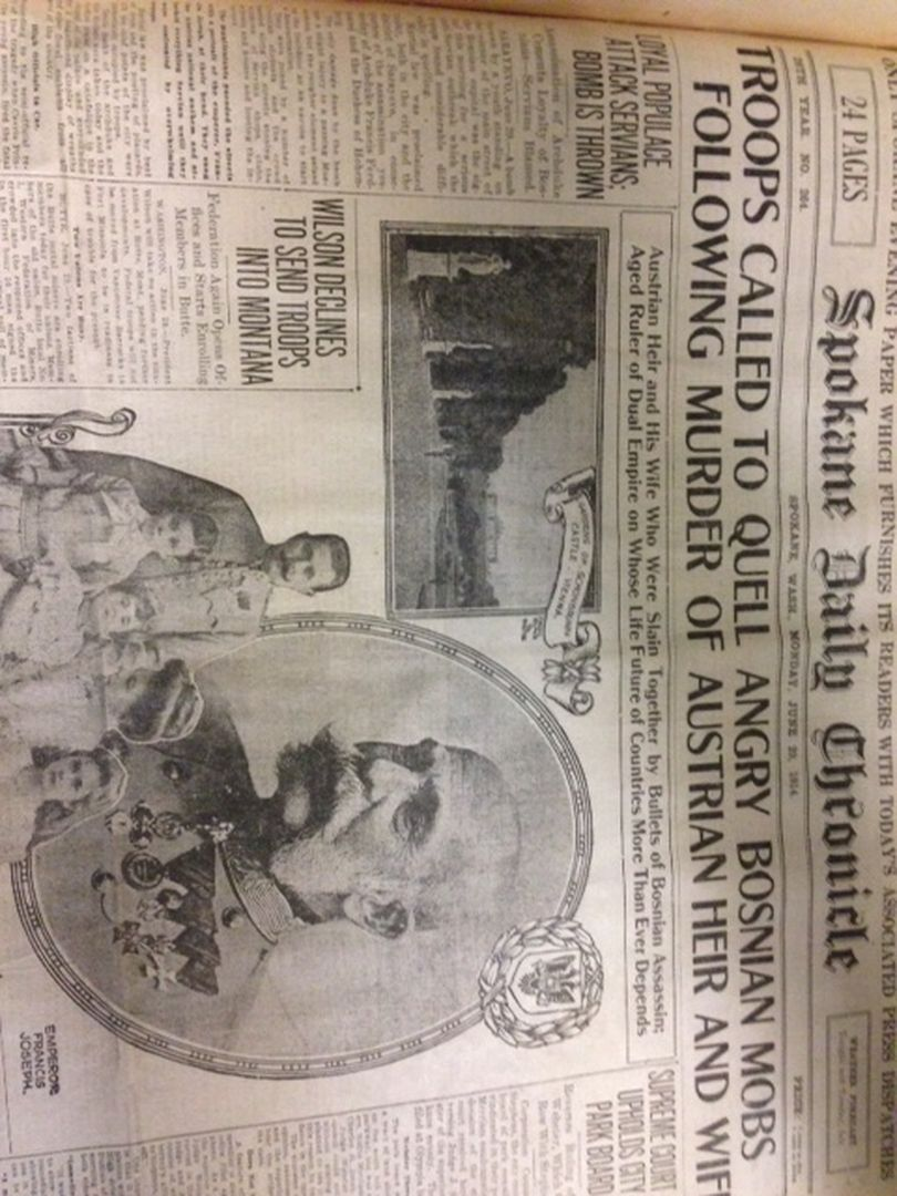 The Spokane Daily Chronicle's front page treatment of the assassination of Archduke Ferdinand and wife Sophie on June 28, 1914.