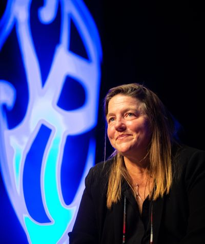Author Pam Houston speaks onstage at a Northwest Passages event on Tuesday, March 26, 2019, at the Bing Crosby Theater. (Libby Kamrowski / The Spokesman-Review)