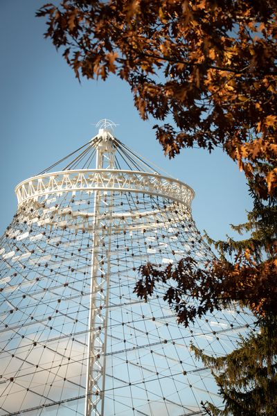 Fall colors frame the top of the US Pavilion on a vibrant fall day on Sunday, Nov. 15, 2020 in Spokane's Riverfront Park. Mostly clear skies in the morning contributed to bright colors and sharp details.  (Libby Kamrowski/ THE SPOKESMAN-REVIEW)