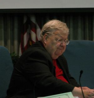 Retired Idaho District Judge Duff McKee presides at the final day of testimony in a contested case hearing on Highway 12 megaloads on Friday. (Betsy Russell)