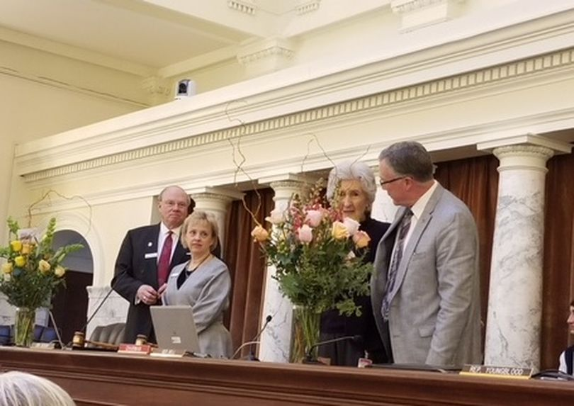 JFAC Co-Chairs Sen. Shawn Keough, second from left, and Rep. Maxine Bell, second from right, are honored by their committee on the final day of agency budget-setting for the coming year on Friday, March 9, 2018; at far left is Senate Vice Chair Fred Martin, and at right, House Vice Chair Rick Youngblood.   (Rep. Wendy Horman)