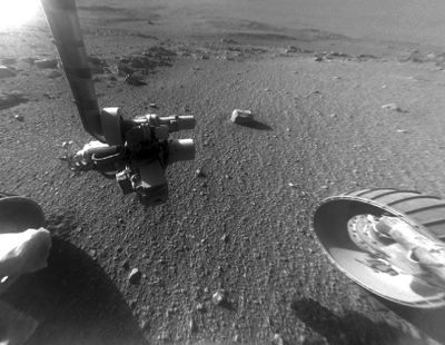 This Jan. 4, 2018 photo made available by NASA shows a view from the front Hazard Avoidance Camera of the Opportunity rover on the inboard slope of the western rim of Endeavour Crater on the planet Mars. (Associated Press)