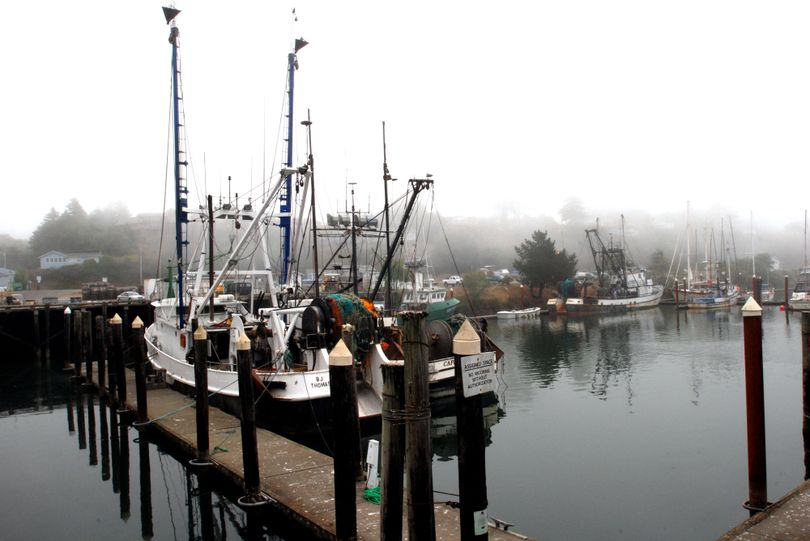 Commercial fishing boats are tied up at the Port of Brookings-Harbor, Ore., in 2009. (Associated Press)