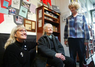 Late Beat writer Neal Cassady's daughter, Jami Cassady, left, his wife, Carolyn Cassady, center, and daughter, Cathy Cassady, visit The Beat Museum in the North Beach section of San Francisco.   (Associated Press / The Spokesman-Review)