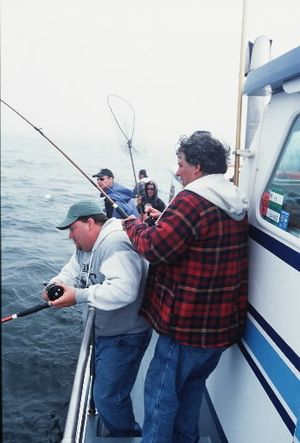 Summer salmon fishing action can be fast and furious on Pacific Ocean charterboats off the Washington Coast. (Rich Landers)