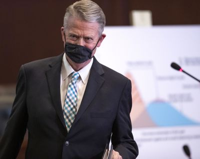 Idaho Gov. Brad Little announces Stage 3 of his reopening plan May 28 at the Statehouse in Boise.  (Darin Oswald/Idaho Statesman)