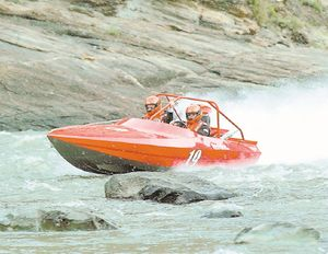 The Red Bird Racing team tackles the Salmon River rapids during the annual jet-boat races near Riggins in April 2007. The boat is piloted by Mike Egbers of Mount Vernon, Wash., and Eric Hamburg of Shasta Lake, Calif. 