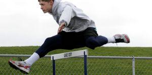 Tanner Schalk practices at Lake City High School  April 29. (Kathy Plonka / The Spokesman-Review)