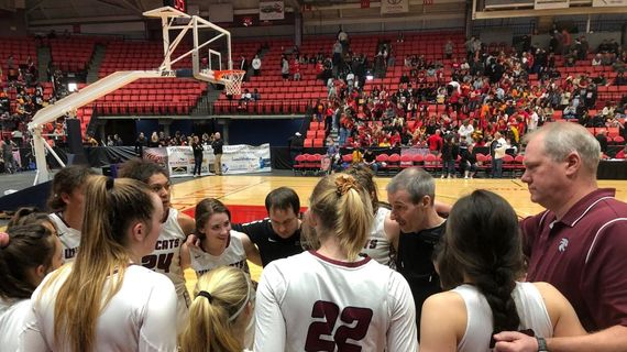 Mt. Spokane coach David Pratt address his team following the Wildcats 73-54 win over Kennewick in the District 8 3A title game on Friday, Feb. 21, 2020 at the Toyota Center in Kennewick, Washington. (Dave Nichols / The Spokesman-Review)