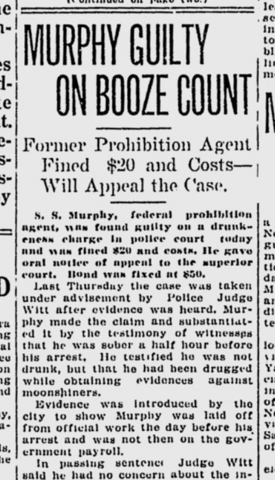 S.S. Murphy, the former chief Prohibition agent in Spokane, was found guilty of drunkenness over his protestations on this day 100 years ago. Murphy was fined $20.  (S-R archives)