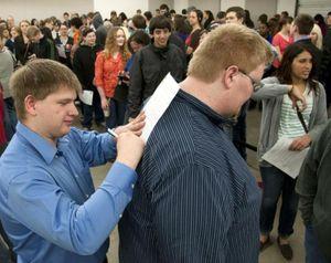 Job candidates at the March 2014 Silverwood Theme Park job fair in Coeur d'Alene. (Dan Pelle / The Spokesman-Review)