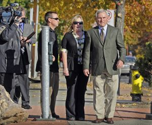 Spokane police officer Karl Thompson waits to cross the street after leaving the William O. Douglas Federal Courthouse in Yakima, Wash., Wednesday, Nov. 2, 2011.  Thompson was found guilty on two counts in the death of Otto Zehm. (Christopher Anderson / Spokesman-Review)