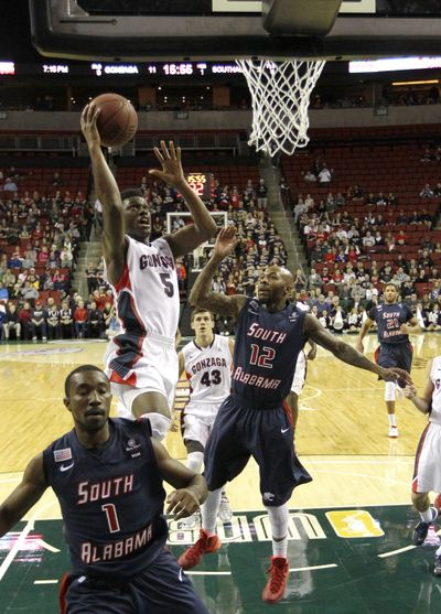Senior guard Gary Bell Jr. and his Gonzaga teammates didn't play particularly well last season in the Battle in Seattle against South Alabama, but did come away with the win. Bell hopes to complete a perfect 4-0 record in Seattle games with the Zags take on Cal Poly Saturday night in KeyArena. (Associated Press)
