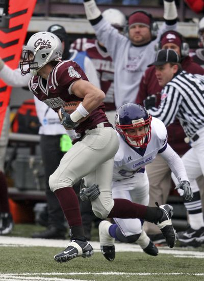 """Senior strong safety Erik Stoll (4) from Sandpoint is among a handful of players from the Spokane area and North Idaho who will """"return home"""" when the Montana Grizzlies visit Eastern Washington on Saturday for a Big Sky opener. (Associated Press)"""