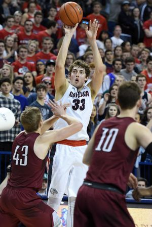 Gonzaga forward Kyle Wiltjer (33) shoots a three-pointer during the first half of a men's college basketball game, Thurs., Jan. 28, 2016, in the McCarthey Athletic Center. (Colin Mulvany / The Spokesman-Review)