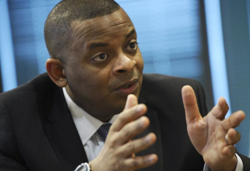 Transportation Secretary Anthony Foxx speaks during an interview with the Associated Press at the Transportation Department in Washington in 2014. (AP Photo/Susan Walsh)