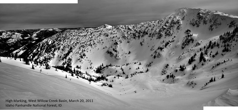 The West Willow Peak basin south of Mullan, Idaho, prized by backcountry skiers has become a target for snowmobilers. (Stevens Peak Backcountry Coalition)