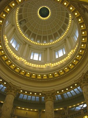 This view shows the inside of Idaho's state capitol dome, viewed from the rotunda. The Capitol has been closed for renovation for two years; it reopens in January. (Betsy Russell / The Spokesman-Review)