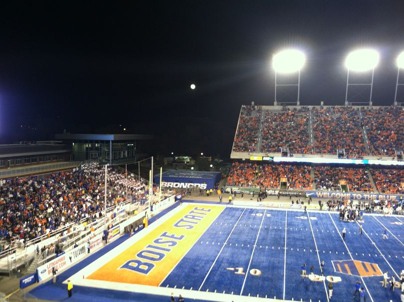 Full moon rises over Bronco Stadium just after halftime on Saturday (Betsy Russell)