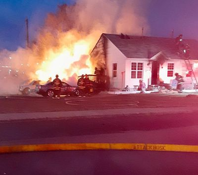 A North Spokane duplex caught fire on the evening of April 7, displacing three residents and killing a cat.   (Courtesy of the Spokane Fire Department)