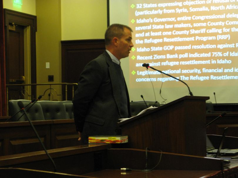 Christopher Holton speaks at the Idaho Capitol about his view of the threat from Jihad (Betsy Z. Russell)