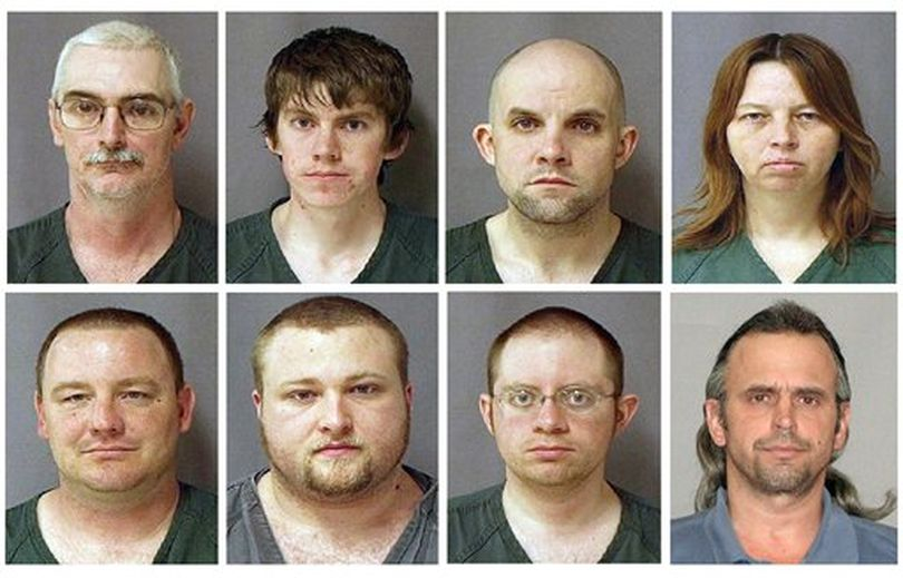This combo of eight photos provided by the U.S. Marshals Service on Monday March 29, 2010 shows from top left, David Brian Stone Sr., 44, of Clayton, Mich,; David Brian Stone Jr. of Adrian, Mich,; Jacob Ward, 33, of Huron, Ohio; Tina Mae Stone and bottom row from left, Michael David Meeks, 40, of Manchester, Mich,; Kristopher T. Sickles, 27, of Sandusky, Ohio; Joshua John Clough, 28, of Blissfield, Mich.; and Thomas William Piatek, 46, of Whiting, Ind., suspects tied to Hutaree, a Christian militia. Jury selection is getting under way in Detroit federal court Tuesday, Feb. 7, 2012, nearly two years after the dramatic arrest of people who authorities say belonged to a southern Michigan militia with a goal of rebelling against the government. The trial is expected to last weeks. It involves seven of the nine people charged with belonging to a group called Hutaree. The government says they conspired to try to kill a police officer and plotted further strikes. No one was ever attacked, and the defendants say they're being prosecuted for saying stupid things. Joshua Clough, bottom row second from right, is the only defendant to make a deal with prosecutors and could be called as a witness to testify against the Hutaree. ((AP Photo/U.S. Marshal))