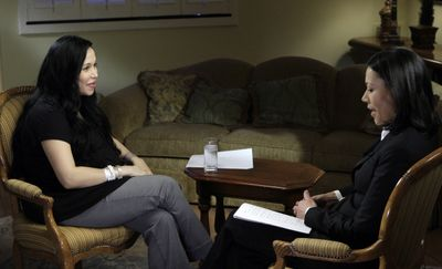 "Nadya Suleman, left, speaks with NBC's Ann Curry on Thursday. The interview  will air on  ""Today""   Monday and ""Dateline"" Tuesday. (Associated Press / The Spokesman-Review)"