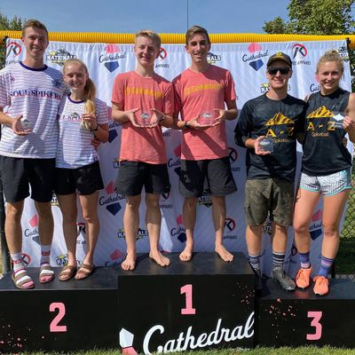 On the center podium, from left, Cooper Young and Ryan Hagerty, both of Spokane Valley, hold first-place plaques after winning the Spikeball intermediate division at the Roundnet National Tournament in Draper, Utah, held during the last weekend of September.  (Courtesy of Utah Roundnet Association Facebook page)