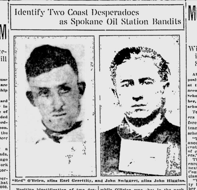 """The Spokane Daily Chronicle ran front-page mugshots of John Swiggert and """"Red"""" O'Brien on Aug. 2, 1921. The two men were suspects in gas station robberies nearly two weeks earlier.  (S-R archives)"""