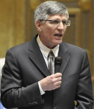 OLYMPIA -- Rep. Timm Ormsby, D-Spokane, argues in favor of the 2016 supplemental budget bill during debate on the last day of the legislative session. (Jim Camden/The Spokesman-Review)