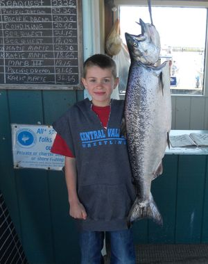 Eight-year-old Jared Clark of Veradale topped all anglers in the weekly Ilwaco king salmon derby with a fish he landed on July 1, 2011, while fishing off the Washignton Coast with Captain Rob Gudgell of the Katie Marie booked through Pacific Salmon Charters. The king salmon weighed 21.90 pounds after it was cleaned.