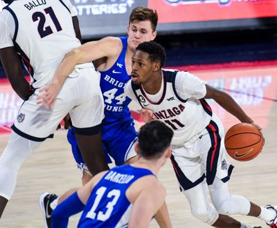 Gonzaga guard Joel Ayayi is averaging 12.5 points per game and leads the West Coast Conference in field-goal shooting at 61.7%.  (By Colin Mulvany / The Spokesman-Review)