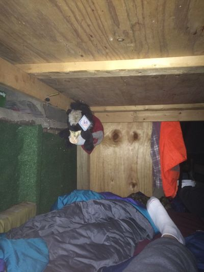 A stuffed toy skunk protects the author's bunk from any future possible varmint intruder.  (Dave Nichols / The Spokesman-Review)