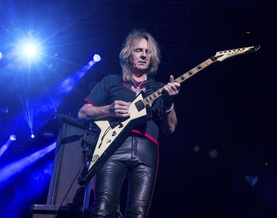 In this Oct. 24, 2015 file photo, Glenn Tipton of Judas Priest performs at the 2015 Knotfest USA in San Bernardino, Calif. (Paul A. Hebert / Associated Press)