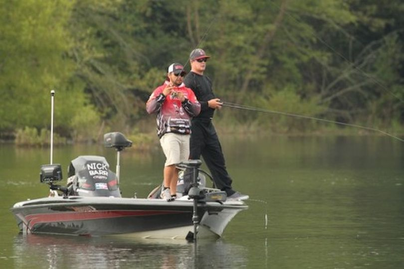 Nick Barr and Jarred Walker of Eastern Washington University fish Day 2 of the 2013 Carhartt College Series National Championship at Lake Chatuge near Young Harris, Ga.  They finished fourth among 64 teams in the three-day event.   (Shaye Baker / BASS)