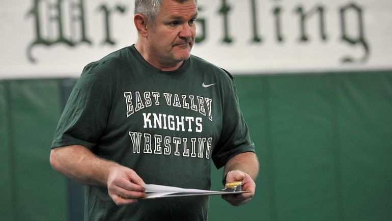 East Valley wrestling coach Craig Hanson instructs his athletes at team practice during January 2011. Hanson said fall wrestling season taking place this spring will be a modified one with time limits on close contacts. Masks will be worn because of the coronavirus pandemic.  (DAN PELLE/The Spokesman-Review)