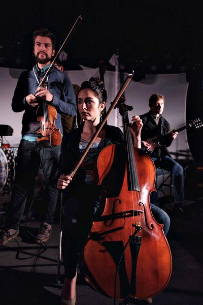 Heat Speak's Phil Pintor on violin, Caroline Bickford on cello and Tim Gales on mandocello.  (Cody Schroeder/Terrain 12)