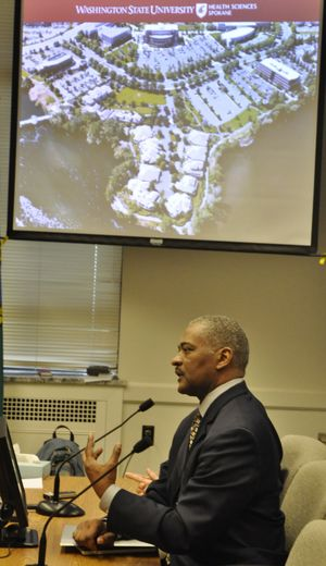 OLYMPIA -- WSU President Elson Floyd explains the schools plans for a medical school in Spokane to the Senate Higher Education Committee. (Jim Camden)