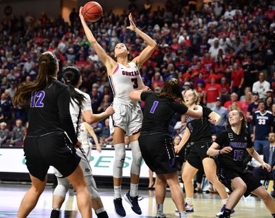 Gonzaga forward Jenn Wirth, recently named West Coast Conference Player of the Year, rebounds against Portland during last year's WCC semifinal in Las Vegas. Wirth is the Bulldogs' rebounding leader this season at 8.4 per game.  (Tyler Tjomsland/THE SPOKESMAN-REVIEW)