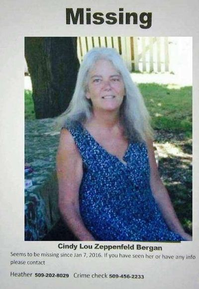 "A poster displayed on Facebook after Cindy Lou Zeppenfeld Bergan went missing in 2016 asks anyone with information to contact the police. Bergan's body was found wrapped in plastic on the side of the road near Cataldo, Idaho. Her daughter disagrees with a Spokane Medical Examiner's Office assessment that Bergan died of ""natural"" causes. (Facebook)"