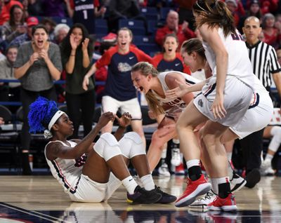 Gonzaga  forward Zykera Rice  is fouled after  a basket during the second half  Thursday  in the McCarthey Athletic Center. (Colin Mulvany / The Spokesman-Review)
