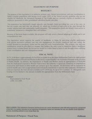 Statement of purpose for new Idaho legislation introduced Monday morning regarding primary care