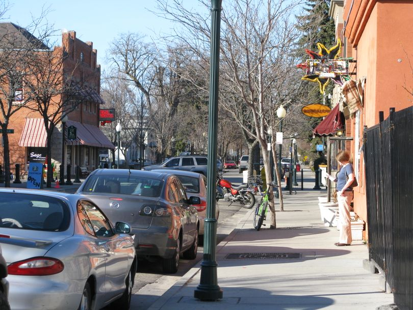"""This photo shows the Hyde Park district in Boise's historic North End, a neighborhood - and legislative district - that state budget director Wayne Hammon spoke disparagingly of when he presented the governor's budget and stimulus recommendations to JFAC on Thursday. Of the area, which tends to vote Democratic, Hammon said, """"The future of Idaho is not contained in the North End."""" (Betsy Russell / The Spokesman-Review)"""