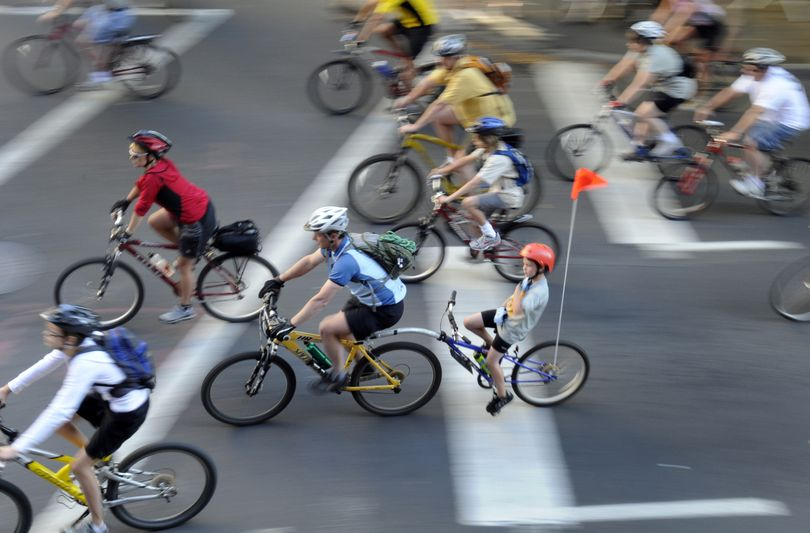Riders of all ages and abilities started on Spokane Falls Boulevard on Sunday, Sept. 13, 2009, for the second SpokeFest bicycle ride. (J. Bart Rayniak / The Spokesman-Review)
